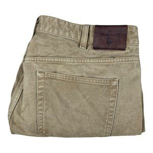 GANT Beige Trousers Mens Size 36X26 Denim Button Fly Pants Formal / Casual